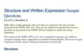 TOEFL ITP Level 1 Structure and Written Expression Sample