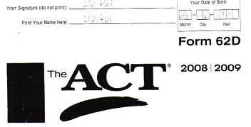Real ACT Tests 2009 Form 62D