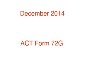 Real ACT Tests 2014 December Form 72G
