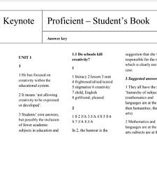 Keynote Proficient Student Book Answer Keys