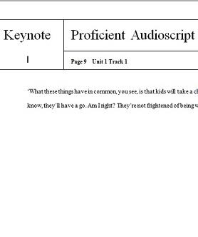 Keynote Proficient Audio Scripts