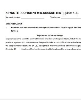 Keynote Proficient Mid Course Test
