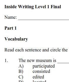 Inside Writing 1 Tests