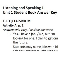 Q Skills for Success 2nd Edition Listening and Speaking 1 Student Book Answer Keys
