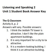 Q Skills for Success 2nd Edition Listening and Speaking 2 Student Book Answer Keys