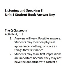 Q Skills for Success 2nd Edition Listening and Speaking 3 Student Book Answer Keys