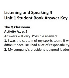 Q Skills for Success 2nd Edition Listening and Speaking 4 Student Book Answer Keys (Unit 1-3-4)