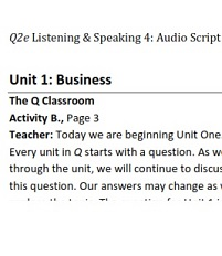 Q Skills for Success 2nd Edition Listening and Speaking 4 Audioscripts