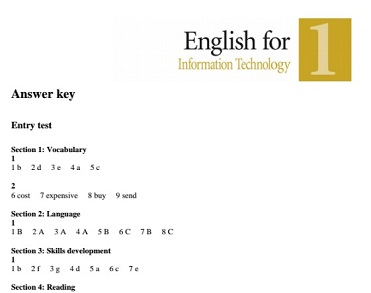 PEARSON LONGMAN English for Information Technology 1 Tests Answer Keys