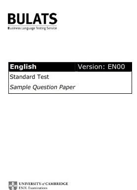 BULATS Standard Test Sample Question Paper (Version EN00)