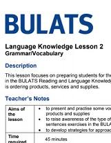 BULATS Language Knowledge Lesson 2