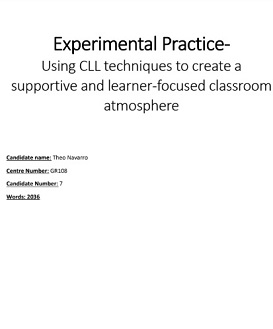 Cambridge Delta Experimental Practice- Using CLL techniques to create a supportive and learner