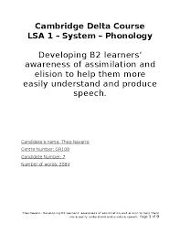 Cambridge Delta Course LSA 1 - System - Phonology