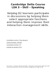 Cambridge Delta Course LSA 3 - Skill - Speaking