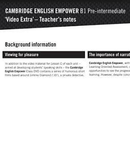 Empower B1 Pre-Intermediate Teacher Notes
