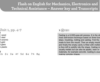 Flash on English for Mechanics Electronics and Technical Assistance Answer Key and Transcripts