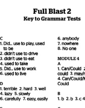 Full Blast 2 Grammar Tests Keys