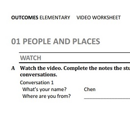 Outcomes Elementary 2nd Edition Video Worksheets With Keys